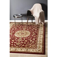 Rug Culture Medallion Flooring Rugs Area Carpet Red with Ivory Border 290x200cm