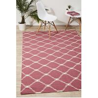 Rug Culture Flat Weave Stitch Design Runner Pink 300x80cm