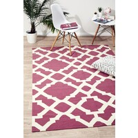 Rug Culture Flat Weave Trellis Design Pink White Flooring Rugs Area Carpet 280x190cm
