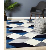 Rug Culture Digital Designer Wool Runner Blue Grey White 400x80cm
