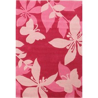 Pink Flower and Butterfly Flooring Rug Area Carpet 220x150cm