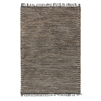 Bondi Leather and Jute Flooring Rug Area Carpet Natural Black 270x180cm