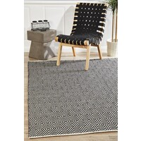 Modern Flatweave Diamond Design Black Flooring Rug Area Carpet 225x155cm