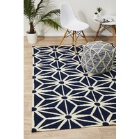 Rug Culture Dandelion Flat Weave Flooring Rugs Area Carpet Navy 280x190cm