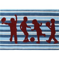 Rug Culture Striped Kids Flooring Rugs Area Carpet Blue and Burgundy 165x115cm