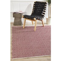 Modern Flatweave Diamond Design Red Flooring Rug Area Carpet 320x230cm