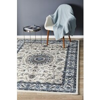 Rug Culture Medallion Flooring Rugs Area Carpet White with White Border 330x240cm