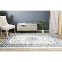 Rug Culture Medallion Flooring Rugs Area Carpet White with Beige Border 330x240cm