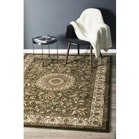 Rug Culture Medallion Flooring Rugs Area Carpet Green with Ivory Border 400x300cm