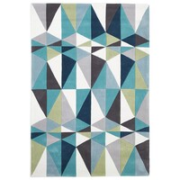 Blue and Grey Crystal Design Flooring Rug Area Carpet 225x155cm