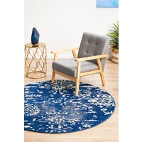 Rug Culture Donna Navy Transitional Flooring Rugs Area Carpet 150x150cm