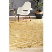 Bondi Leather and Jute Runner Yellow 400x80cm