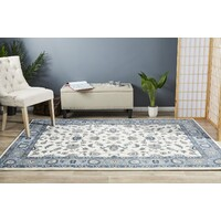 Classic Flooring Rug Area Carpet White with Blue Border 400x300cm