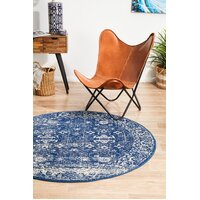 Rug Culture Oasis Navy Transitional Flooring Rugs Area Carpet 200x200cm