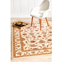 Rug Culture Stunning Formal Floral Design Runner Cream 400x80cm
