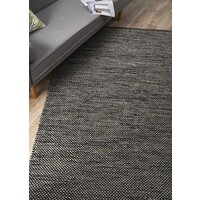 Livvy Charcoal Black Flat Weave Flooring Rug Area Carpet 320x230cm
