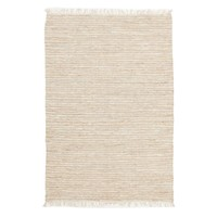Bondi Leather and Jute Flooring Rug Area Carpet White 220x150cm