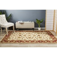 Rug Culture Classic Flooring Rugs Area Carpet Ivory with Burgundy Border 170x120cm