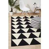 Rug Culture Pyramid Flat Weave Flooring Rugs Area Carpet Black 280x190cm