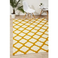 Rug Culture Flat Weave Quatrefoil Flooring Rugs Area Carpet Ivory Gold 280x190cm