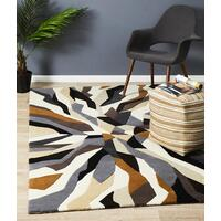 Crossroads Designer Wool Flooring Rug Area Carpet Brown White Grey 280x190cm