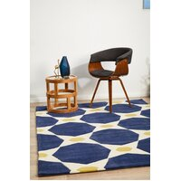Rug Culture Navy and Yellow Hive Flooring Rugs Area Carpet 165x115cm