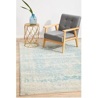 Rug Culture Glacier White Blue Transitional Runner 300x80cm