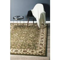 Rug Culture Classic Runner Green with Ivory Border 400x80cm