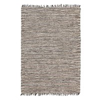 Bondi Leather and Jute Runner Black White 300x80cm