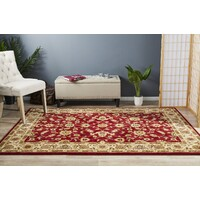 Classic Flooring Rug Area Carpet Red with Ivory Border 330x240cm