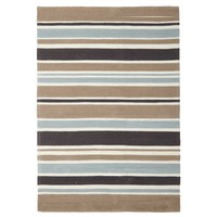Soft Blue and Taupe Stripe Flooring Rug Area Carpet - 165x115cm