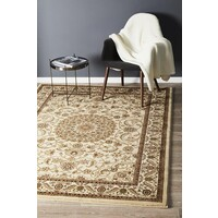 Rug Culture Medallion Flooring Rugs Area Carpet Ivory with Ivory Border 330x240cm