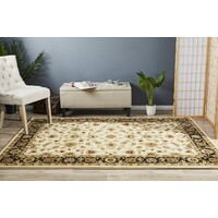 Classic Flooring Rug Area Carpet Ivory with Black Border 400x300cm