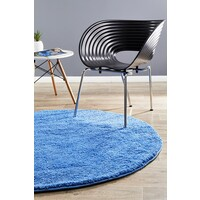 Pack of 3 Freckles Round Shag Flooring Rug Area Carpets Blue 60x60cm