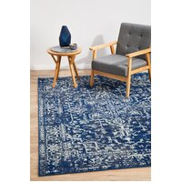 Contrast Navy Transitional Flooring Rug Area Carpet 230x160cm