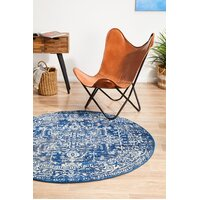 Rug Culture Contrast Navy Transitional Flooring Rugs Area Carpet 150x150cm