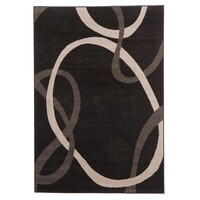 Abstract Modern Rug Black Grey 230x160cm