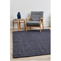 Chunky Natural Fiber Barker Navy Flooring Rug Area Carpet 320x230cm