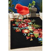 Rug Culture Kelsey Bouquet Black Indoor Outdoor Floor Area Rugs COP-592-BLA-225X155cm