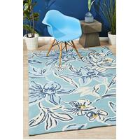 Rug Culture Whimsical Blue Floral Indoor Outdoor Floor Area Rugs COP-596-BLU-225X155cm