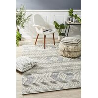 Rug Culture Esha Woven Tribal Floor Area Rug Silver Grey  HUD-806-SIL-320X230cm