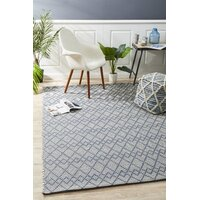 Deepa Stunning Wool Floor Area Rug Denim Bone  HUD-808-DEN-225X155cm