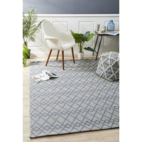 Deepa Stunning Wool Floor Area Rug Denim Bone  HUD-808-DEN-280X190cm