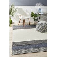 Rug Culture Esha Textured Woven Floor Area Rugs White Denim  HUD-809-DEN-280X190cm