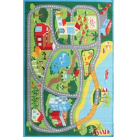 Kids Non Slip Road Map Beach Floor Area Rug Blue  LC-RD3-MULTI-200X133cm