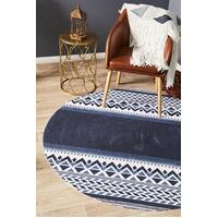 Lunar Braided Cotton Abstract Navy White Round Floor Area Rug  LUN-422-NAV-120X120cm