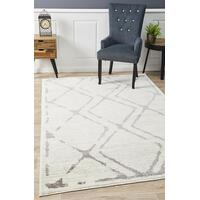 Rug Culture Kendall Contemporary Diamond Floor Area Rugs White Grey  MET-606-IVO-290X200cm