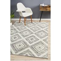 Rug Culture Sabrina Geo Diamonds Floor Area Rugs Silver Grey  MET-616-SIL-330X240cm