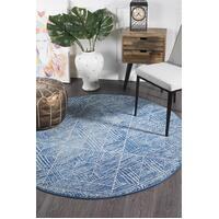 Rug Culture Kenza Contemporary Navy Round Floor Area Rugs OAS-457-NAVY-200X200cm