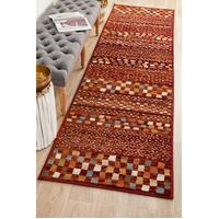 Rug Culture Mayfair Squares Rust Runner Rugs OXF-431-RUS-300X80cm